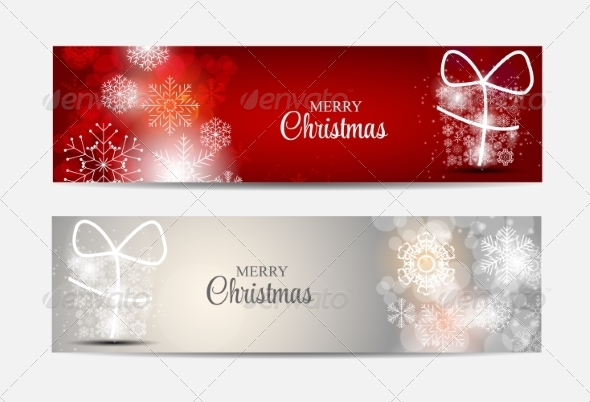GraphicRiver Christmas Snowflakes Website Header and Banner Set 8746000