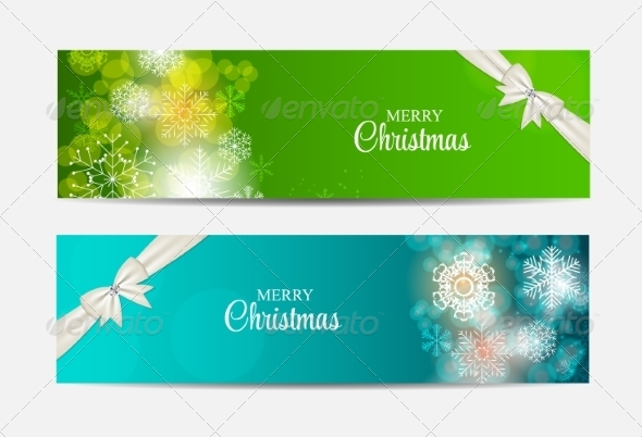 GraphicRiver Christmas Snowflakes Website Header and Banner Set 8746002