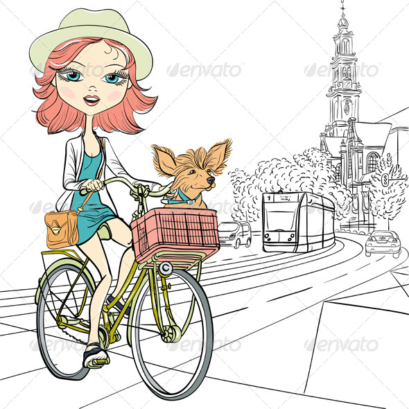 GraphicRiver Vector cute girl with dog on the bike in Amsterdam 8746024