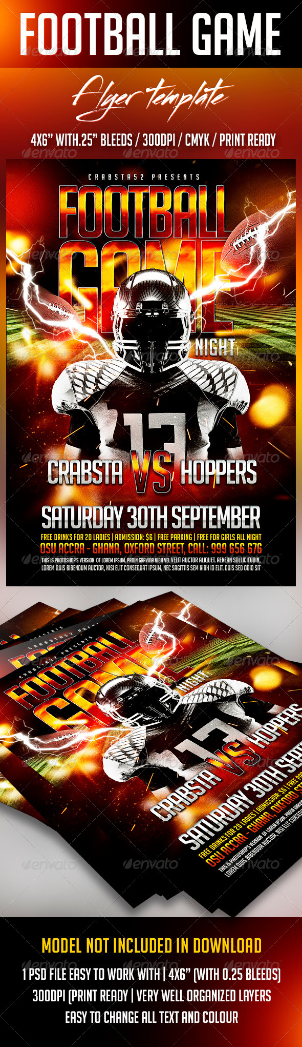 GraphicRiver Football Game Flyer Template 8746035