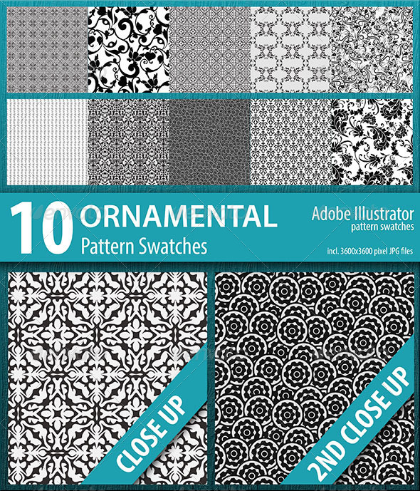 GraphicRiver 10 Ornamental Pattern Swatches 8746085