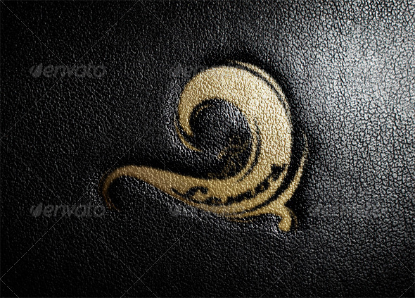 GraphicRiver Leather Stamping Logo MockUp 8745695