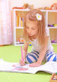 Little girl drawing at home - PhotoDune Item for Sale