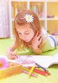 Preschooler girl painting with colorful pencil - PhotoDune Item for Sale