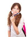 Smart thoughtful girl on exam - PhotoDune Item for Sale