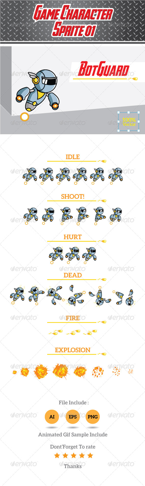 GraphicRiver Game Character Sprite 01- BotGuard 8746361