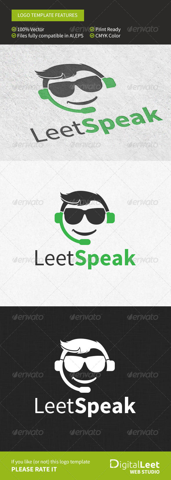 GraphicRiver Leet Speak Geek Chat Logo Template 8746395