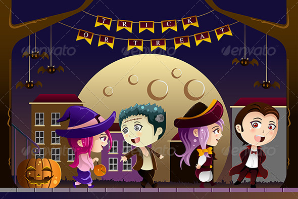 GraphicRiver Kids Wearing Halloween Costumes 8746474
