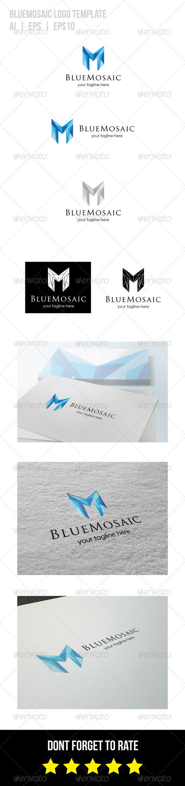 GraphicRiver Blue Mosaic Logo 8746496
