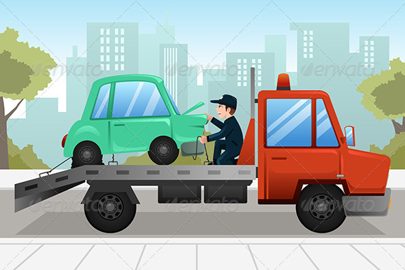 GraphicRiver Tow Truck Towing a Broken Down Car 8746580