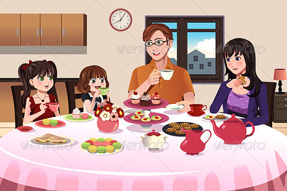 GraphicRiver Family having a Tea Party Together 8746618