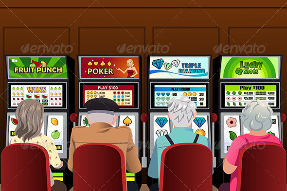 GraphicRiver Senior People Playing Slot Machines in the Casino 8746623