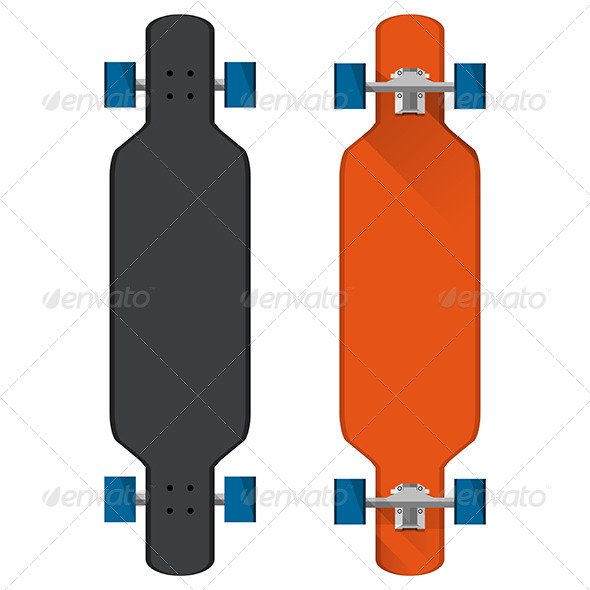 GraphicRiver Flat Vector Illustration of Colored Longboards 8746975