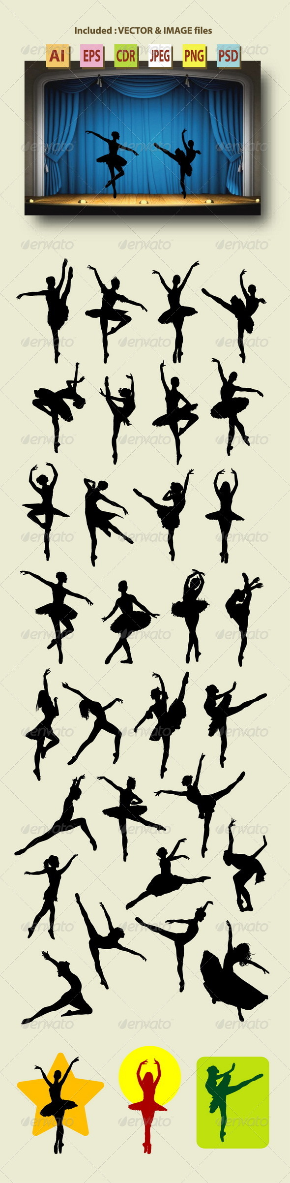 GraphicRiver 30 Female Ballet Silhouettes 8747036