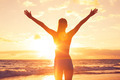 Happy Free Woman at Sunset on the Beach - PhotoDune Item for Sale