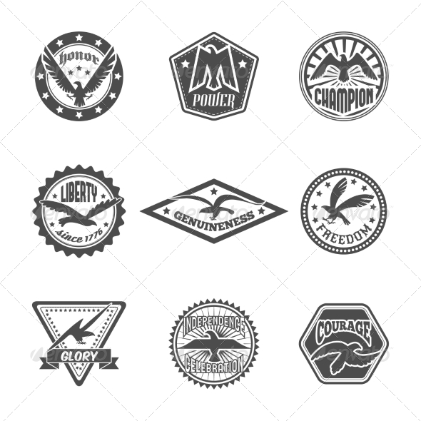 GraphicRiver Eagle Label Icon Set 8747465