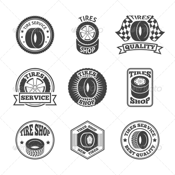 GraphicRiver Tires Label Icon Set 8747470