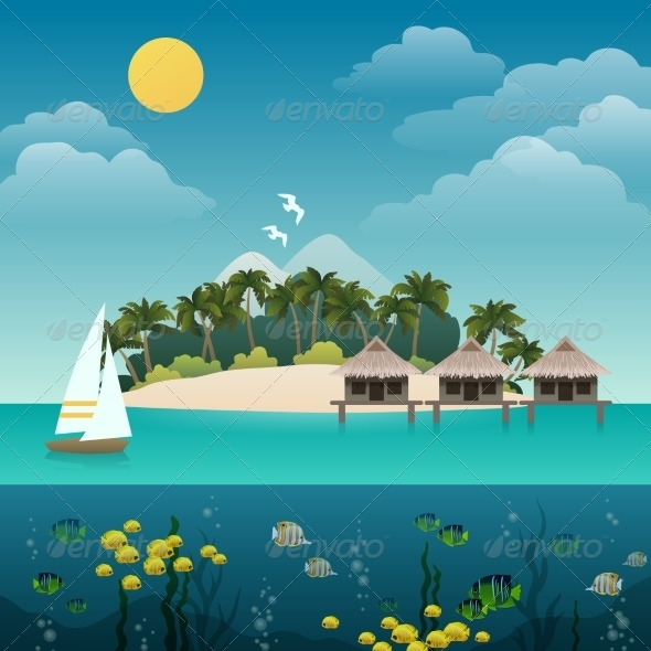 GraphicRiver Tropical Island Background 8747471