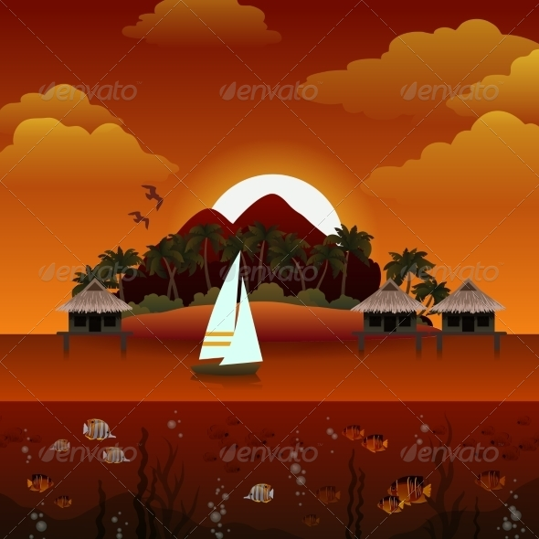 GraphicRiver Tropical Island Sunset Background 8747473