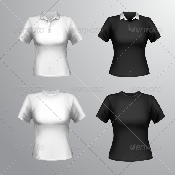 GraphicRiver T-Shirts Female Set 8747517