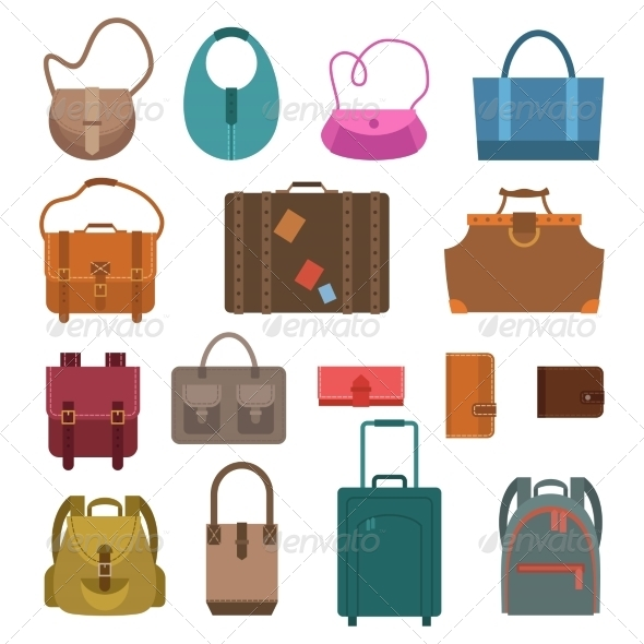 GraphicRiver Bags Colored Icons Set 8747533