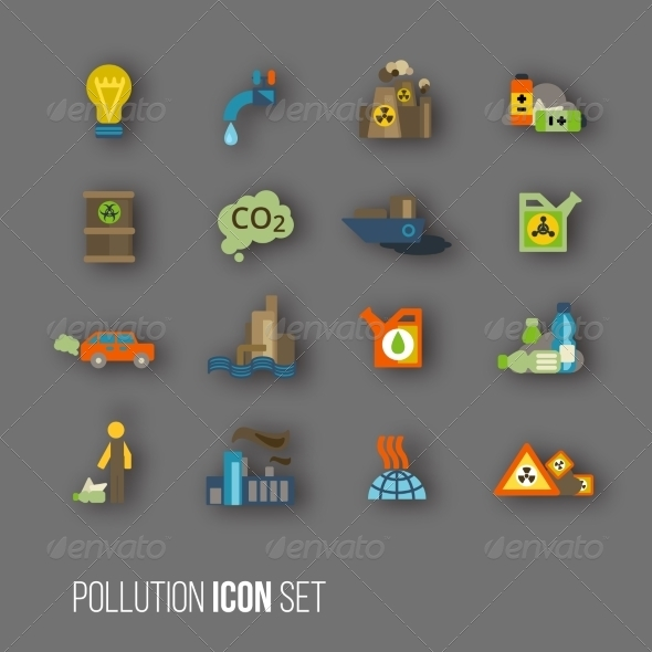 GraphicRiver Pollution Icon Set 8747537