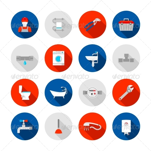 GraphicRiver Plumbing Icons Set 8747542