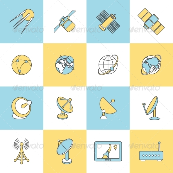 GraphicRiver Satellite Flat Line Icons 8747544