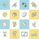 Satellite Flat Line Icons - GraphicRiver Item for Sale