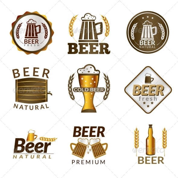GraphicRiver Beer Golden Emblems 8747570