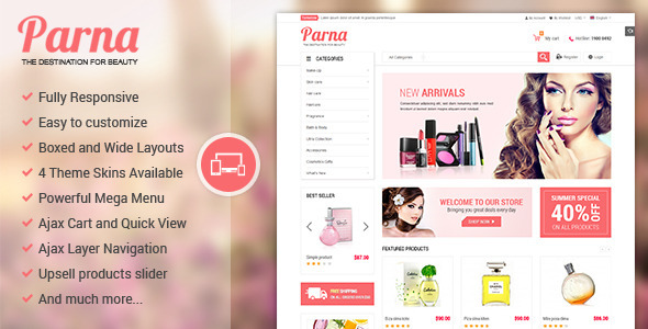 Parna - Responsive Multi-purpose Magento Theme - Fashion Magento