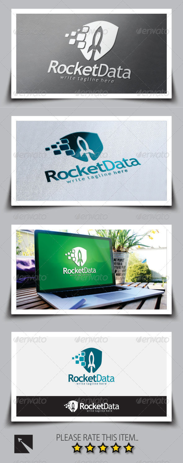 GraphicRiver Rocket Data Shield Logo Template 8747896