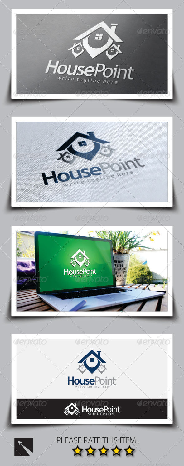 GraphicRiver House Point Real Estate Logo Template 8747972