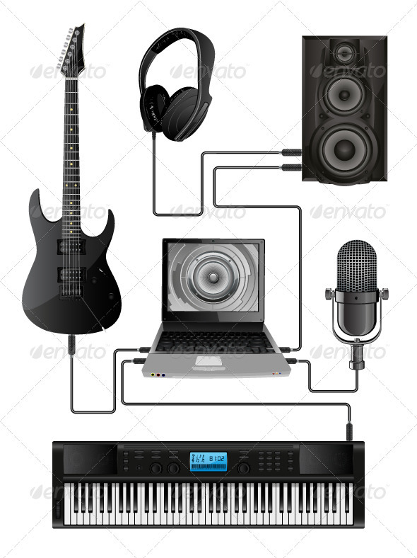 Vector Illustration of Home Media Centre - Media Technology