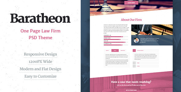 ThemeForest Baratheon One Page Law Firm PSD Theme 8739106