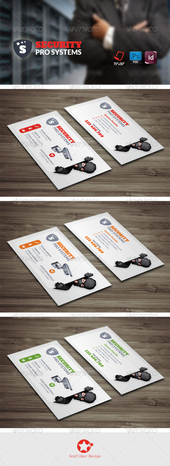 GraphicRiver Security Systems Business Card Templates 8748090