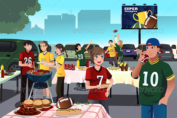 GraphicRiver American Football Fans Having a Tailgate Party 8748123