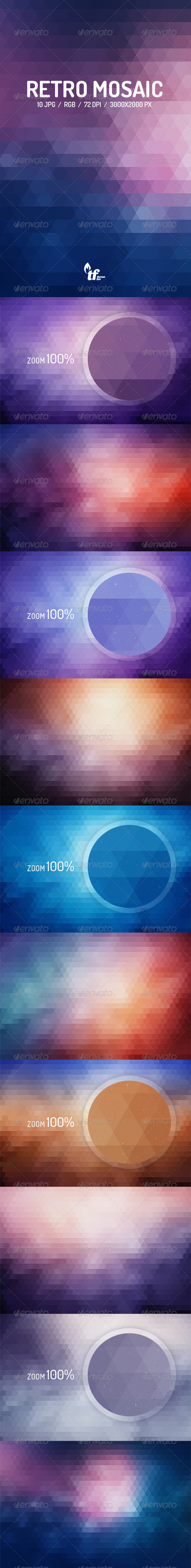 GraphicRiver Retro Mosaic Backgrounds 8748146