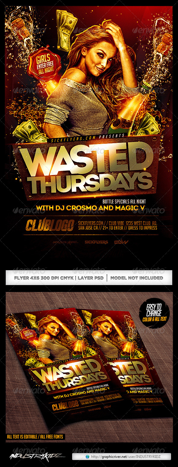 GraphicRiver Wasted Thursdays Flyer Template PSD 8748190