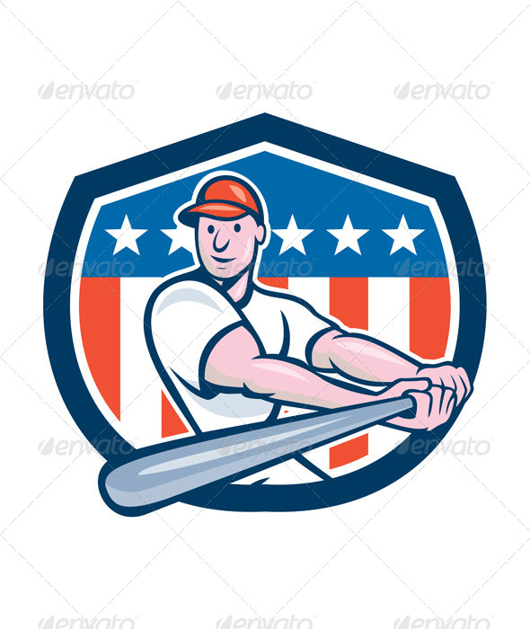 GraphicRiver American Baseball Player Batting Shield Cartoon 8748773