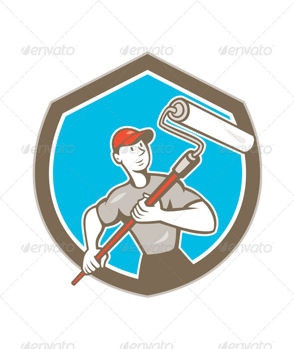 GraphicRiver House Painter Paint Roller Shield Cartoon 8748882