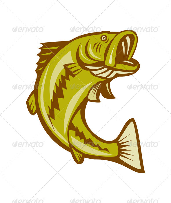 GraphicRiver Largemouth Bass Jumping Cartoon 8748884