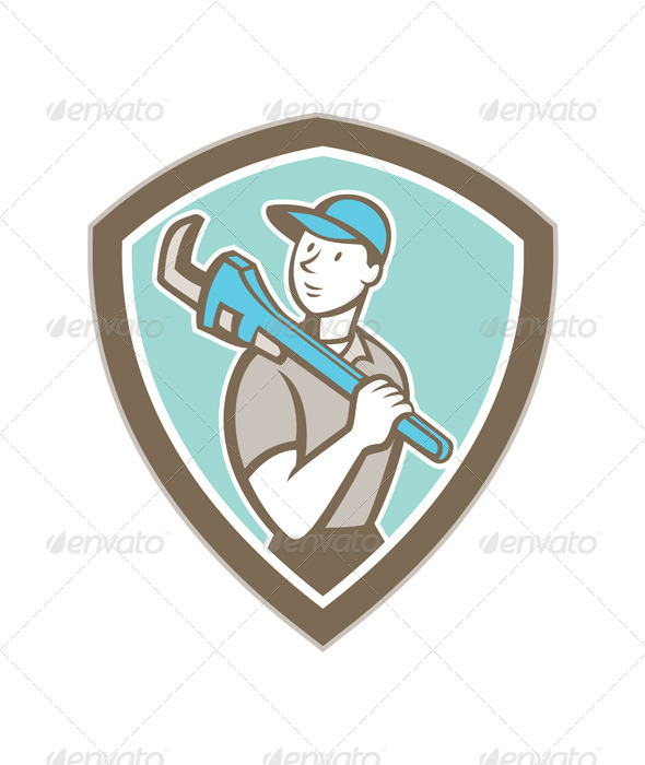 GraphicRiver Plumber Holding Monkey Wrench Shield Cartoon 8748962