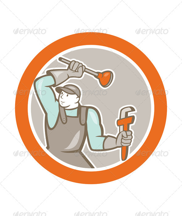 GraphicRiver Plumber Wielding Plunger Wrench Circle Cartoon 8748972