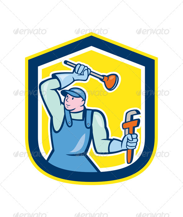 GraphicRiver Plumber Wielding Plunger Wrench Shield Cartoon 8748973