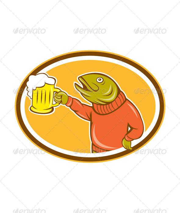 GraphicRiver Trout Fish Holding Beer Mug Oval Cartoon 8748990