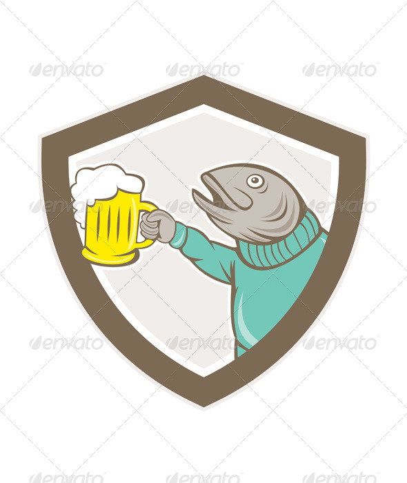 GraphicRiver Trout Fish Holding Beer Mug Shield Cartoon 8748993