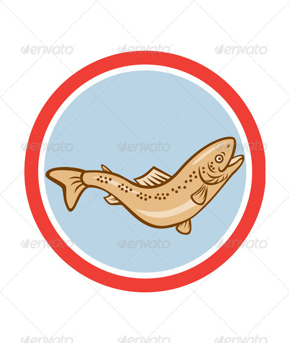 GraphicRiver Trout Rainbow Jumping Circle Cartoon 8748996