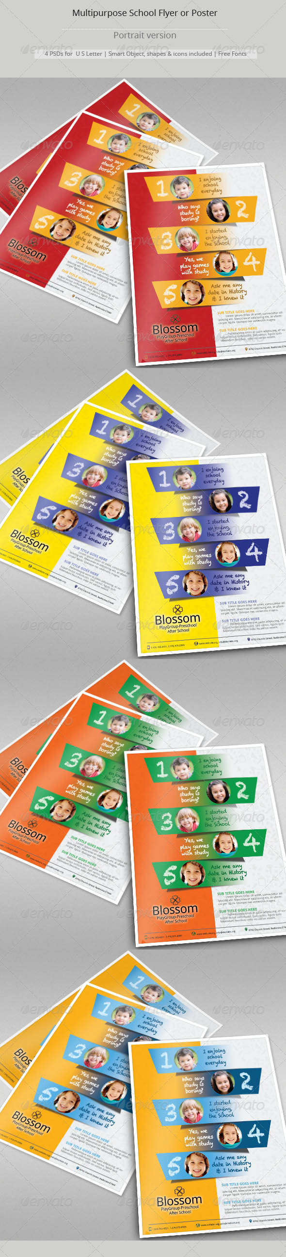GraphicRiver Multipurpose School Flyer Templates 8749010
