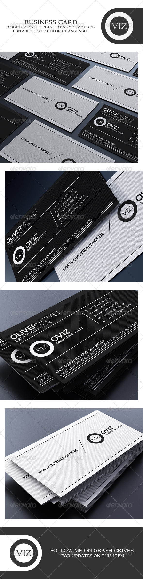 GraphicRiver Elegant Black And White Business Card 8749395